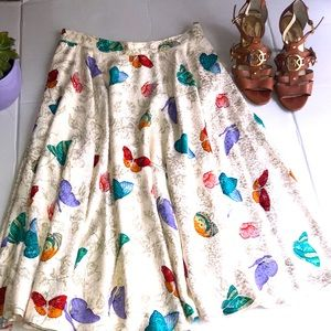Silk ivory/off white skirt with butterfly print